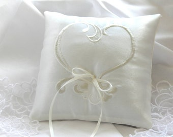 Ivory ring pillow Ring pillow with heart Weddings Wedding accessories Ring bearer