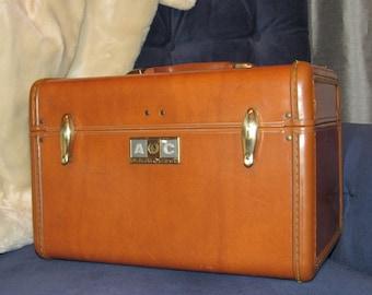 Vintage Samsonite train case leather travel overnight cosmetic bag brown