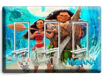 Moana and Hawaiian God Maui pig Pua Chicken Hei Hei triple GFI light switch cover plate children game room girls boys play bedroom art decor