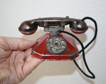 Rare Vintage Toy Tin Telephone