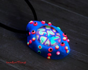 Special offer deal UV Blacklight Pendant Turquoise Psytrance Trippy Necklace Party