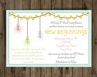 New Beginnings 2017 Invitation, 4x6, ASK Light Bulb, CUSTOMIZED Printable Invitation, YW 2017 Theme