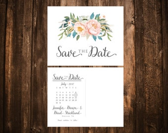 Blush & Blue Save the Date; Printable or set of 10