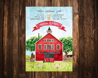 Farm Animals Birthday Invitation; Watercolor; Printable or set of 10