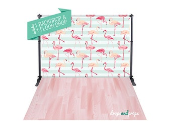 Pink Flamingos & Rose Wood Floor – Photography Backdrop Combo