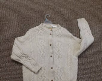 Womens XL Sweaters of Ireland Cream Colored 100% Wool Cable Knit Cardigan Sweater