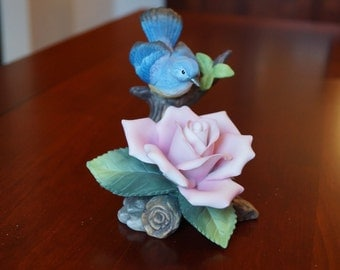 Andrea By Sadek Pink Rose With Bluebird Hand Painted Porcelain #11499
