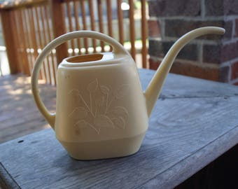 Vintage Plastic Watering Can-Gold-Cottage Chic-Flowers-Garden-Plants