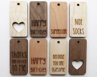 Wood Gift Tags - Pack of 8 - Assorted - Gift Tags