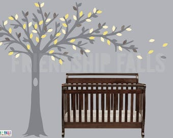 Blowing tree, Nursery Wall Decal, Owl decal, Blowing Tree Wall Decal, Banana Chevron Grey Tree Scene
