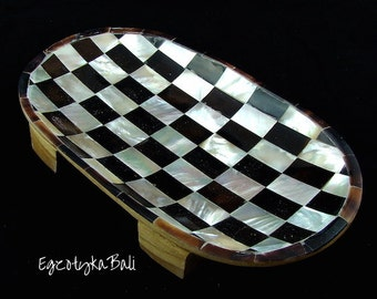 Soap Dish Black and White Mother of Pearl