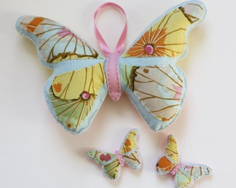 Handmade Felt Plush Butterfly and Babies - Pastel Pink and Yellow