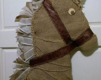Handmade Burlap/Ribbon Horse Head Door/Wall Decor/Kentucky Derby Decor