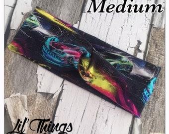 Neon Cars Hotwheels Twist Knot Headband Turban Headbands, S, M, L, Small, Medium, Large