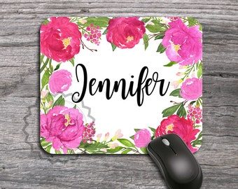 Personalized Mouse Pad, Name Coworker Gift Mousepad Floral Watercolor Mousemat Peonies Mouse Pad Office Desk Accessories Flower Mouse Mat