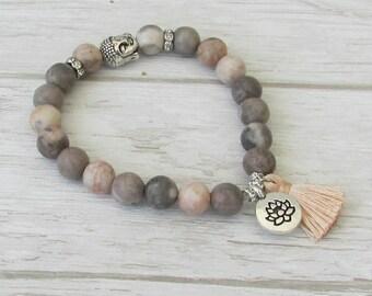 LCT-NALINI Bracelet de yoga, pierre jaspe zebre, perle Bouddha pendentif fleur de lotus argenté, bracelet bohème pompon, bijoux gipsy chic