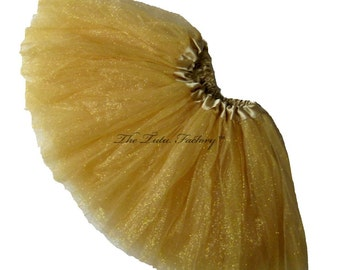 GOLD GLITTER Tutu . Little Girls to Adults Plus Size . Gold Tutu .  Sparkle Skirt . Short 11in Length