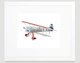 Vintage Airplane Print - Digital Download - Wall Art - Airplane Decor - Toddler Art - Airplane Nursery Art - Kids Wall Art