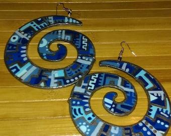 180-Swirl earrings- blue