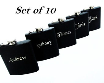 Set of 10 Personalized Wedding Groomsman Hip Flask // Will You Be My Groomsman or Best Man? // Will You Be My Bridesmaid or Maid of Honor?