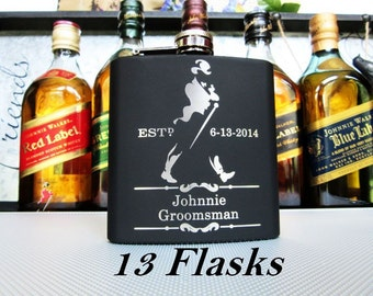 Set of 13 Wedding Party Gift // Personalized Whiskey Flasks // Wedding Attendant Gifts // Rehearsal Dinner Toasting Glasses / FREE ENGRAVING