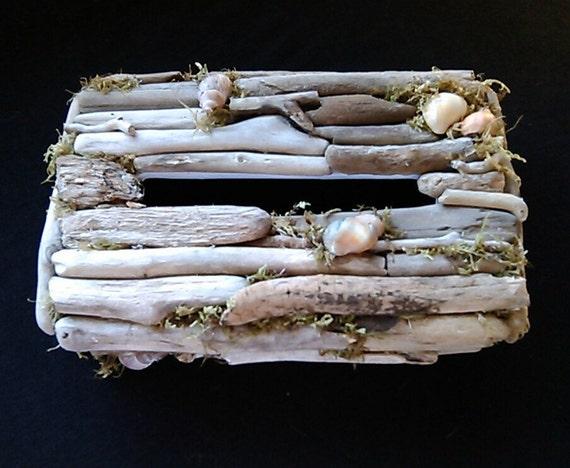 Beach tissue box cover coastal decor beach bathroom driftwood - Beach themed tissue box cover ...