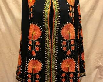 Uzbek silk embroidery jacket