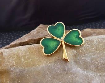 Vintage BJ (Beatrix) Irish Shamrock Green Enamel Brooch