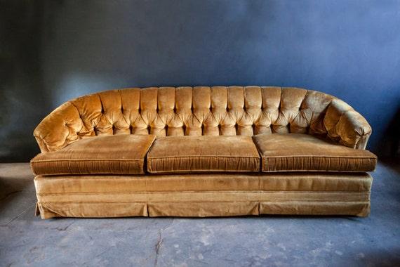 Mid Century Gold Velvet Tufted Sofa Couch
