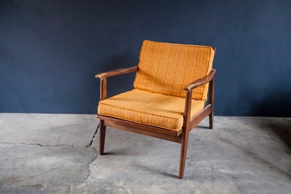 Mid Century Orange Tweed Vintage Danish Teak Chair