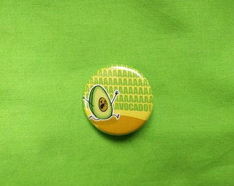 Scared Avocado pin, Pinback Button, gift for friends, gift for veggie lovers, gift for vegans