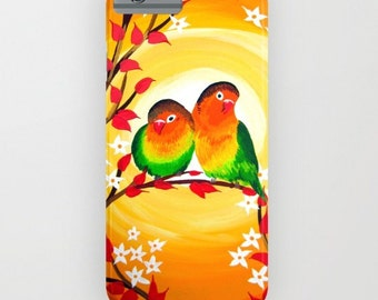 lovebirds print, print of lovebirds, lovebird gift, lovebird gifts, phone case, fits most phones, bird,yellow phone case,orange phone case,