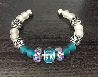 Cuff Bracelet with Blue and Purple Beads