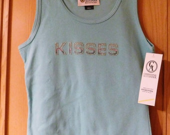 Christine Alexander Kisses Tank Top with  Swarovski Crystals Size S