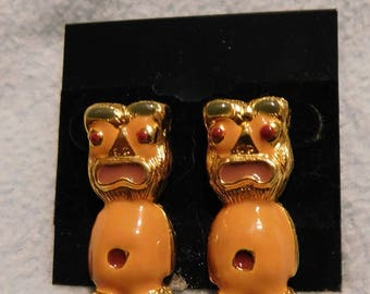 Vintage Tiki People Pierced Earrings