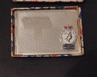 Commemorative Chrome Stamp Case with original box Coronation of Queen Elizabeth II 1953 Coronation Stamp Case Souvenir Royal collectable