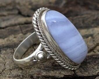 Natural Blue Lace Agate Gemstone Ring, Blue Lace Agate Ring, 925 Sterling Silver Ring, Agate Ring, Birthstone Ring, Designer Gift Ring