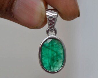 Colombian Emerald Pendant, Natural Emerald Gemstone Pendant, Emerald Pendant, 925 Sterling Silver May Birthstone Gift Pendant Necklace Chain