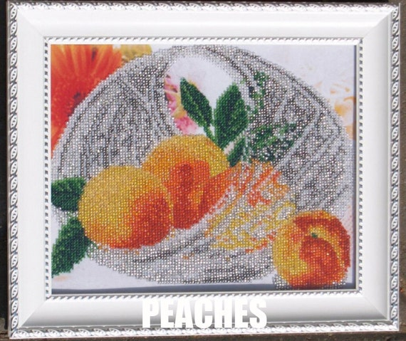 Fruits In Crystal Vase DIY bead embroidery kit, Housewarming Gift Idea, Wall decor, bead stitching, beaded painting