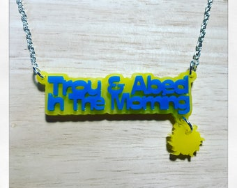 Community Inspired Troy and Abed in The Morning Acrylic Necklace with Charm