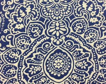 Table runner - Blue and White,  22x108, 100% cotton , rolled hem, small blue pom pom on each corner , machine wash cold, light iron if neede