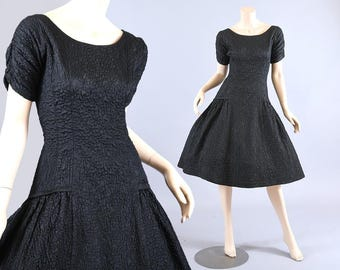 Vintage 1950s Black Party Dress, Ballerina Bodice, Quilted