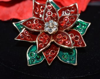 Monet Signed Rhinestone RED & GREEN POINSETTIA  Brooch  Large Pin  ships in 24 Hrs