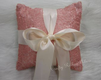 Large Pink Matte Sequins Wedding Ring Bearer Pillow, 8 x 8 Wedding ring pillow READY TO SHIP