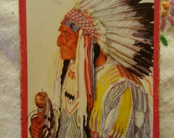 "Six 1950s Great Northern RR playing cards feature a portrait of Blackfoot Chief ""Wades-in-the-Water"" based painting by Winold Reiss"