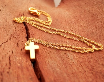 Dainty Gold Cross Necklace. Dainty Gold Plated 18k Chain. Tiny Gold Plated Cross Necklace. Minimalist Jewelry. Simple Gold Necklace. Cross.