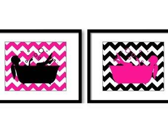 Hot Pink Black Bathroom Decor Bathroom Wall Art Print Girls in a Bathtub Tub Set of 2 Bathroom Art Prints