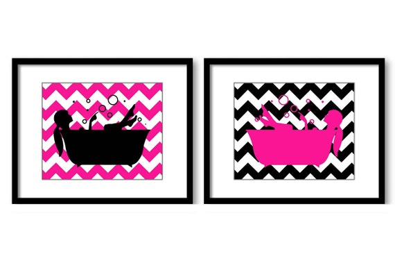 hot pink black bathroom decor bathroom wall art print girls in