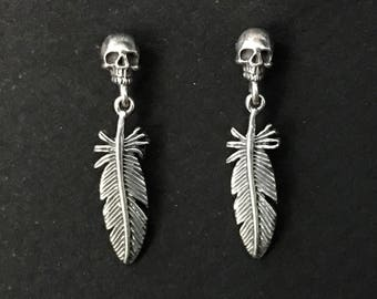 Tiny Skull with Feather Earrings