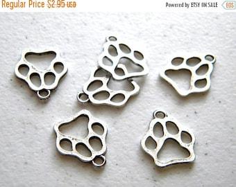 HALF PRICE 6 Silver Dog Paw Charms